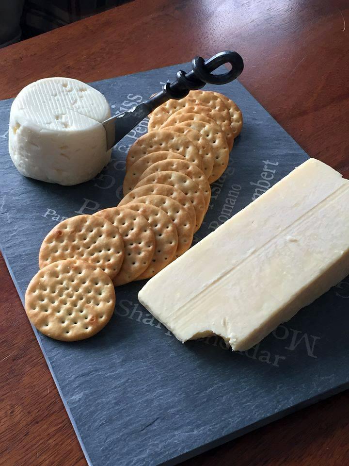 Cheese knife on slate cheese plate – River Slate Co.