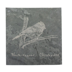 Chickadee on coaster – River Slate Co.