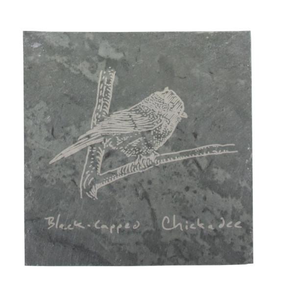 Chickadee on coaster – River Slate Co.