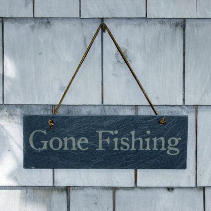 Gone Fishing Slate sign by Riverslate Co.