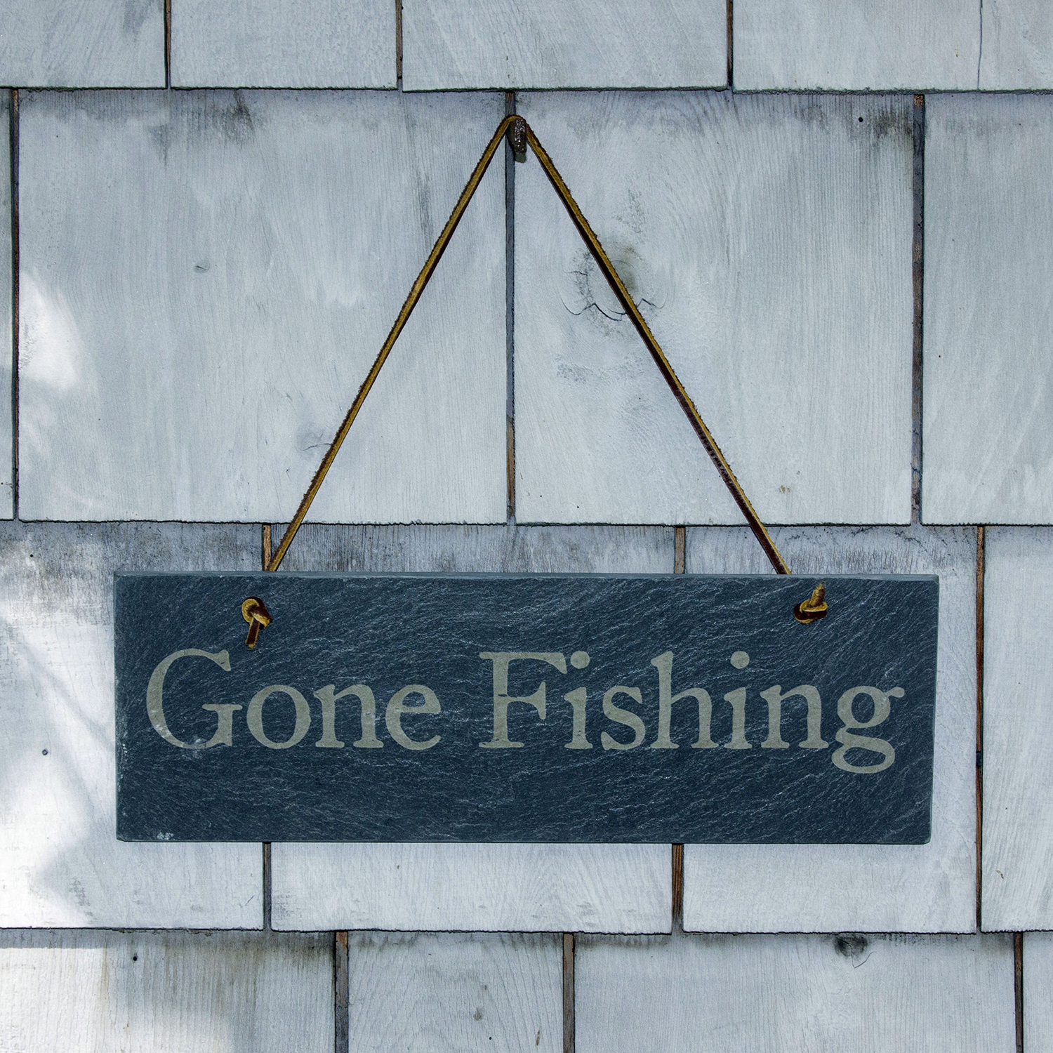 Gone Fishing Slate sign by Riverslate Co.