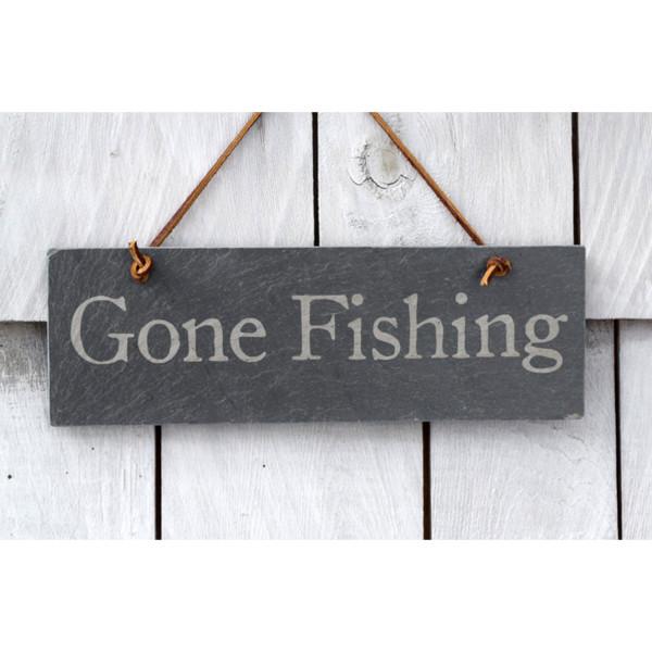 Gone Fishing slate sign