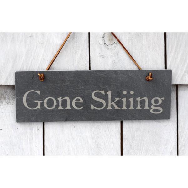 Gone Skiing slate sign – River Slate Co.