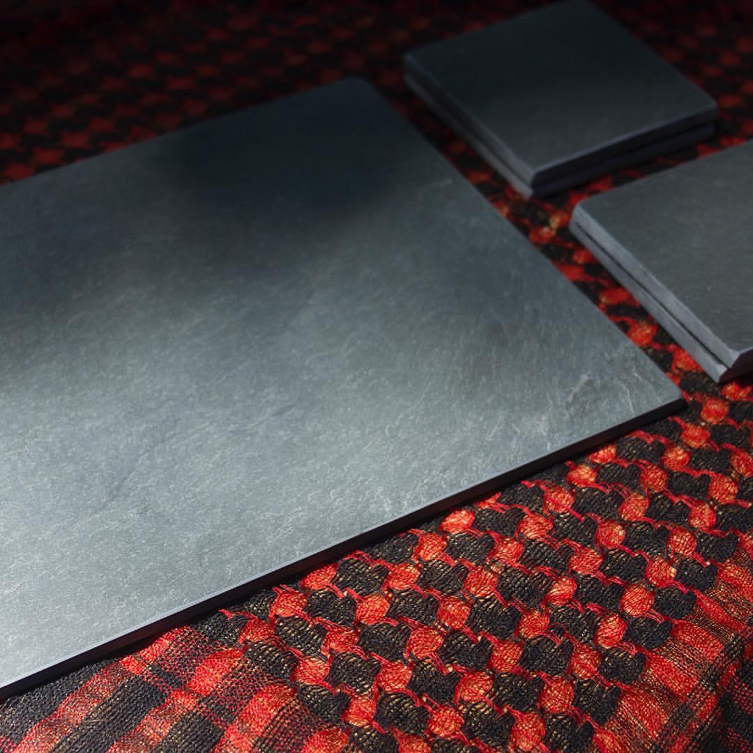 Blank Slate next to blank coaster set – River Slate Co.