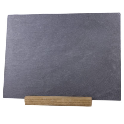 Grey slate cheese plate with wooden stand – River Slate Co.