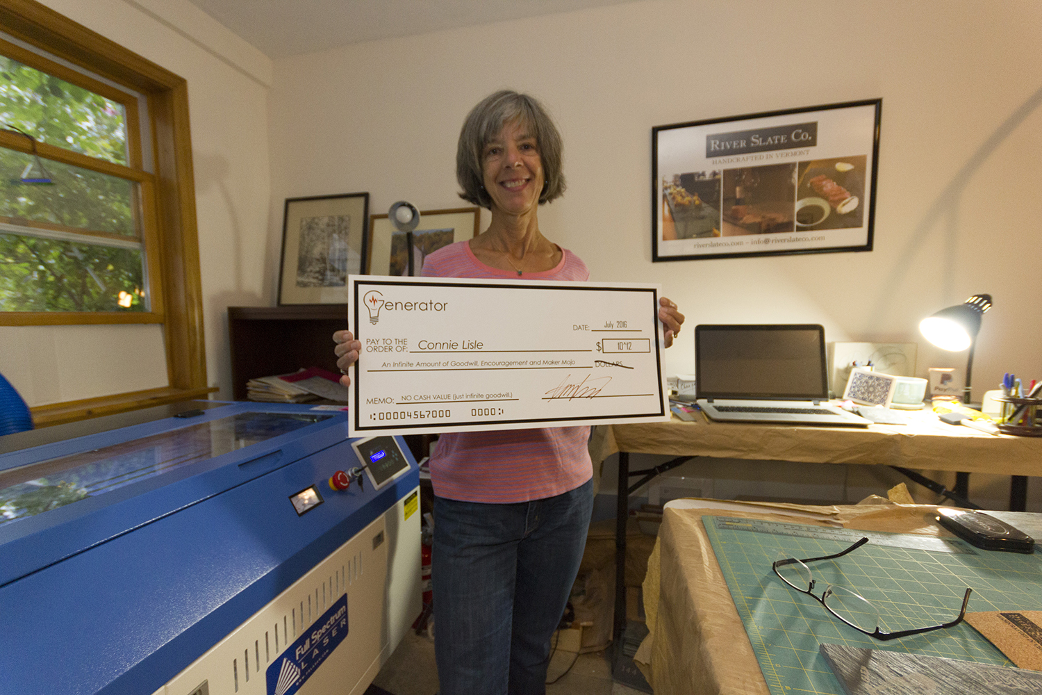 A big check of good wishes and encouragement from Generator, a Maker Space in Burlington, VT