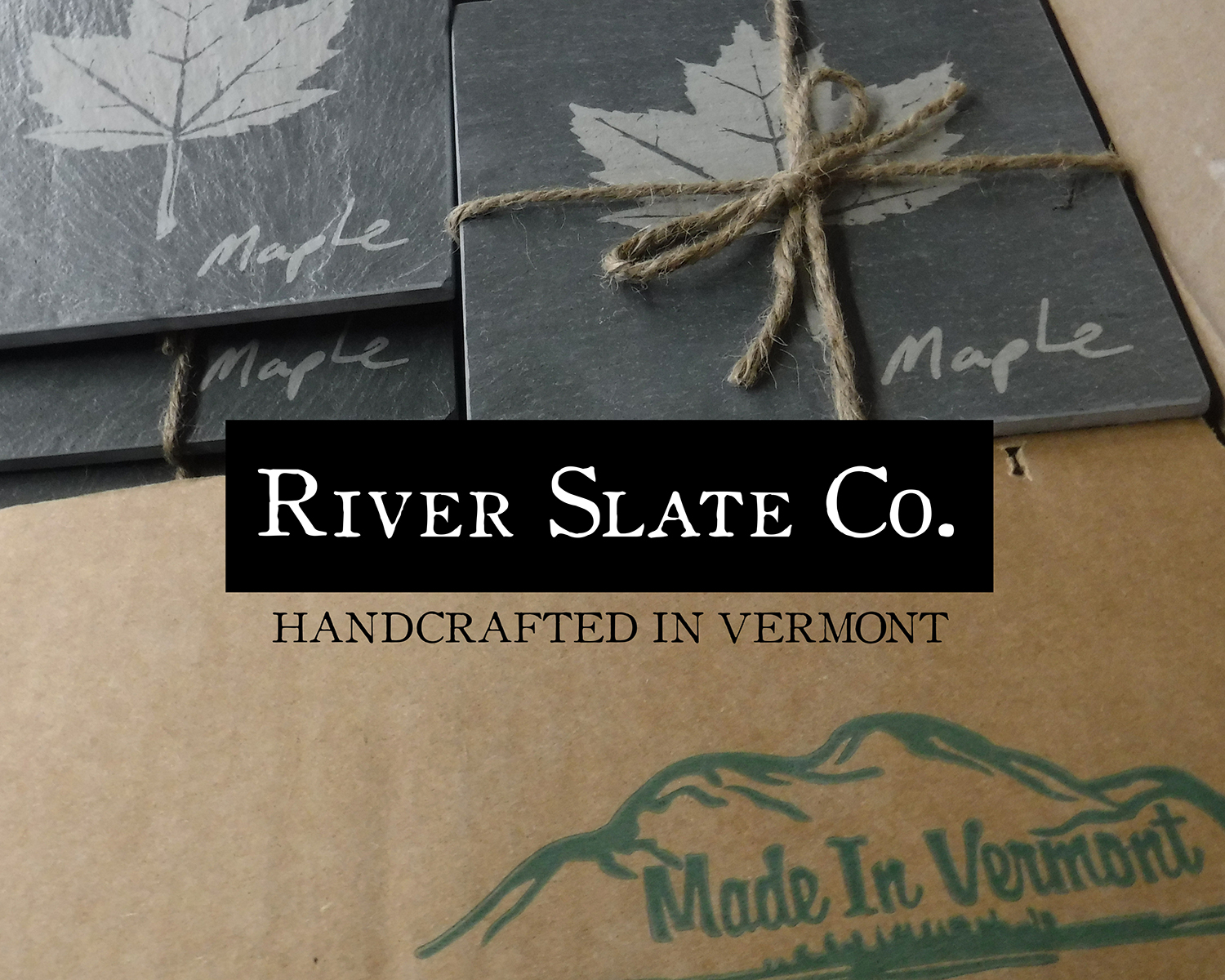 Maple leaf etched coasters inspired by Vermont foliage
