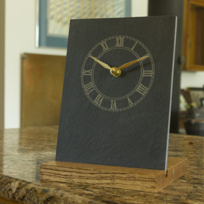 River Slate Co. Roman Clock (black)